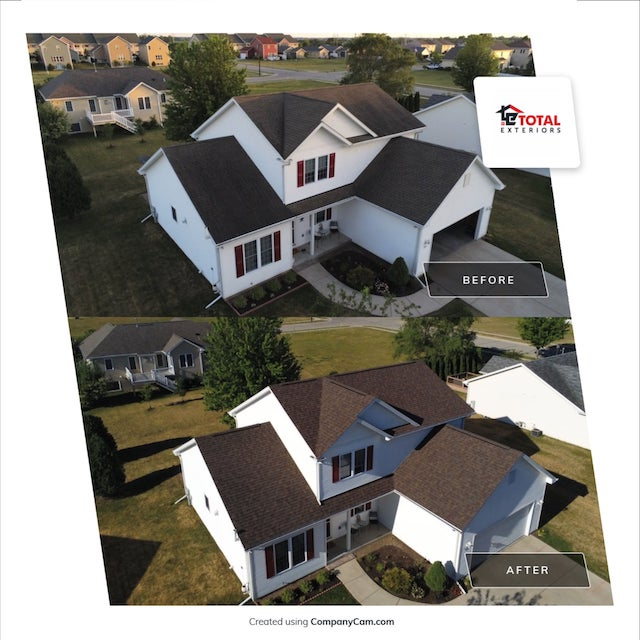Before and after with roof repairs