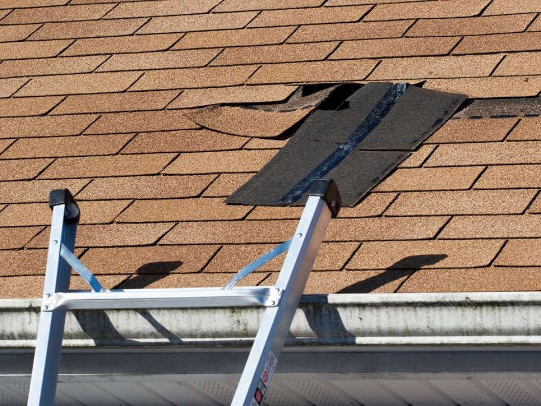 roof shingles with damages