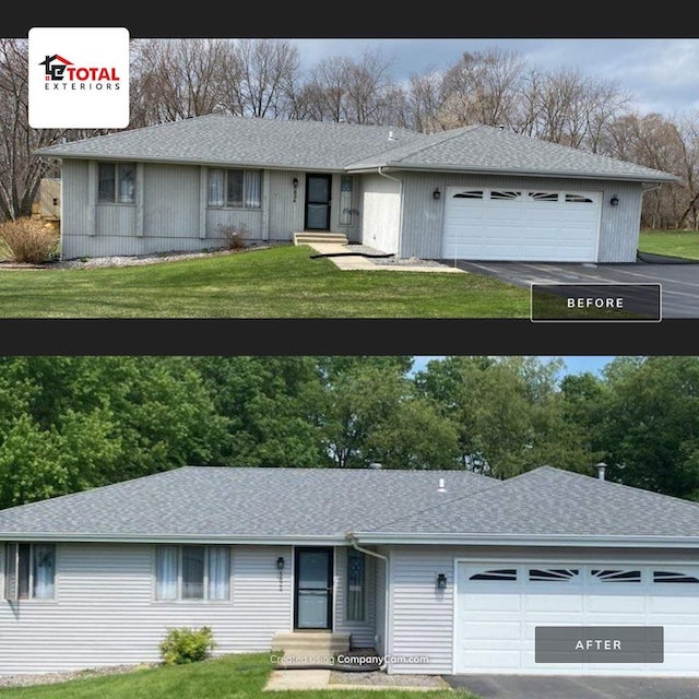 before and after storm damage roof repair