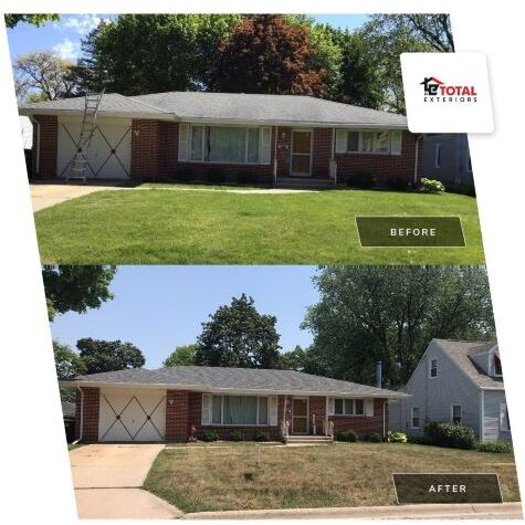 Before and after of residential roof work